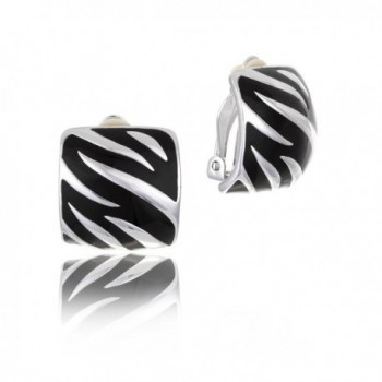 Black Enamel Silver Tone Rhodium Plated Comfort Clip on Earring in Box - CH12886I1FZ