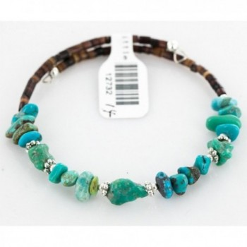$80 Tag Authentic Made by Charlene Little Navajo Native American Natural Turquoise Adjustable WRAP Bracelet - CT11XQ78977