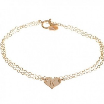 Custom Sterling Silver Dainty Heart Initial Bracelet - Small Delicate Monogrammed Heart - C211EIS1CZJ