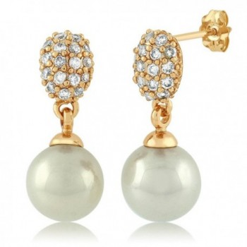 Gold Tone 6MM Simulated Pearl Dangle Earrings with White Round Cubic Zirconia CZ - CW128B6TURF