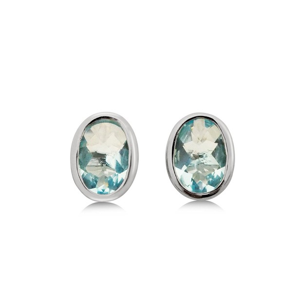 Blue Helenite Gaia Stone Stud Earrings - 3.1 CT Total- Bezel Set 925 Sterling Silver Post - CM12OBMLNJK