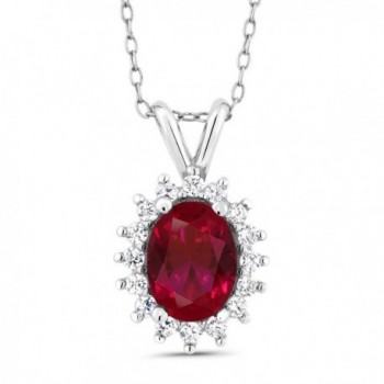"""Sterling Silver Created Ruby Women's Pendant Necklace with 18"""" Silver Chain (1.16 cttw- 8X6MM) - CR11IXIQ8DB"""