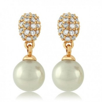 Simulated Pearl Dangle Earrings Zirconia