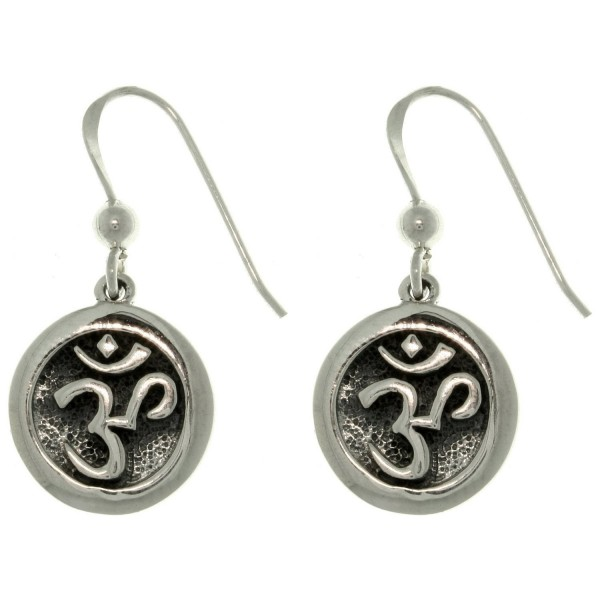 OM or Aum Hindu Yoga Symbol Sterling Silver Round Hook Earrings - C4111MIN279