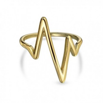 Bling Jewelry Gold Plated Silver Chevron Lightning Bolt Stacked Midi Ring - C311SAQRDTX