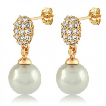 Simulated Pearl Dangle Earrings Zirconia in Women's Drop & Dangle Earrings