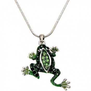 """DianaL Boutique Adorable Green Frog Charm Pendant Necklace with 18"""" Chain Gift Boxed Fashion Jewelry - CL12MWX6JFH"""