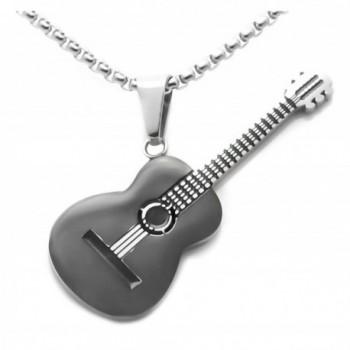 "Xusamss Hip Hop Music Style Titanium Steel Guitar Tag Pendant Chain Necklace-22"" - Black - C0183IS9EML"