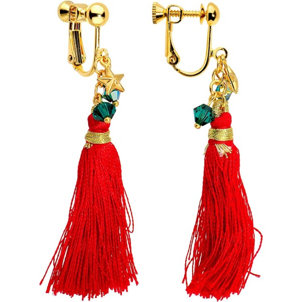 Body Candy Handcrafted Gold Plated Red Tassel Clip On Earrings Created with Swarovski Crystals - CT1883XK4Q8
