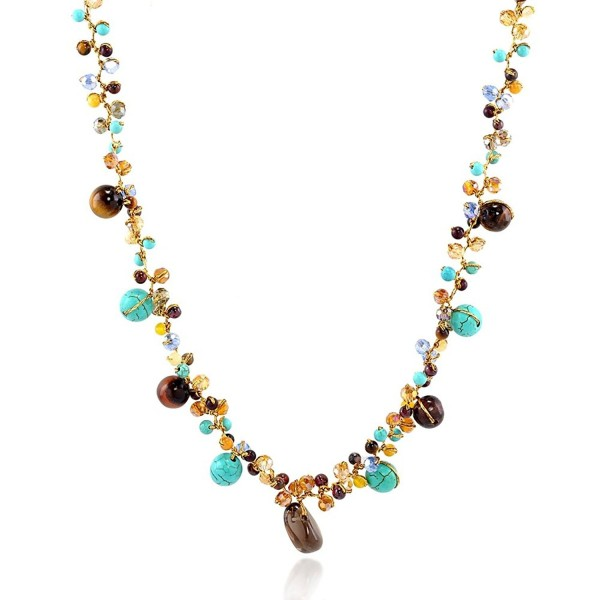 Blue Stone and Tiger Eye Beads Crystal Cluster Necklace- 16-18 inches - C311N08Y1YR