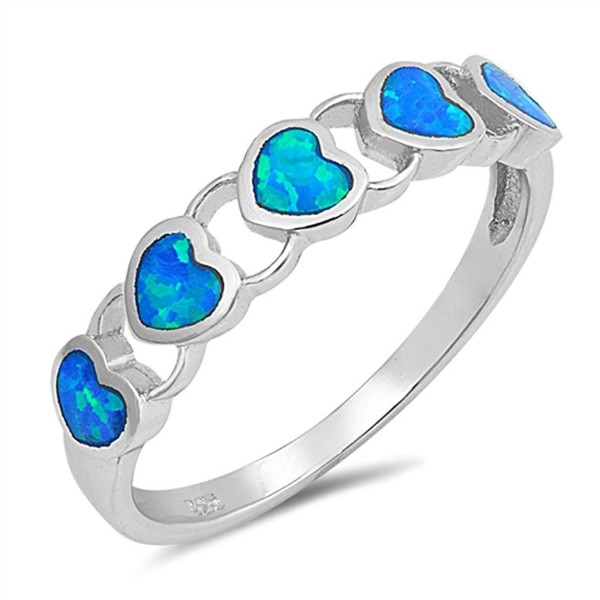 Sterling Silver Heart Promise Ring - Blue Simulated Opal - C112N45GJ7L
