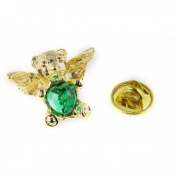 6030310 Teddy Bear Guardian Angel Lapel Pin May CZ Birth Month Cubic Zirconia Brooch - C011DYRCSI5