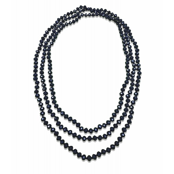 BjB 80-inch Long Endless Infinity Beaded Statement Crystal Necklace. - Jet black - C518585HU7L