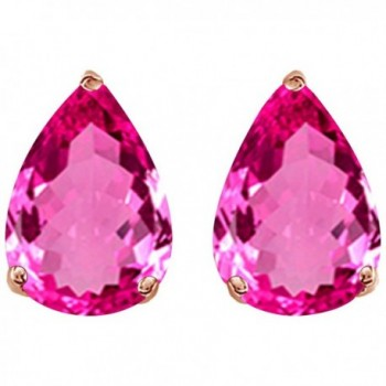Pear Shape Stud Earrings In 14K Rose Gold Over Sterling Silver (1 Ct) - Simulated ruby - CC185SCC9XE