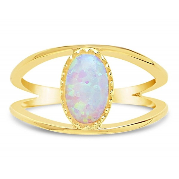 Sterling Forever - High Polish Gold Plated Sterling Silver Created Opal Open Band Ring for Women - CT185ODHH56