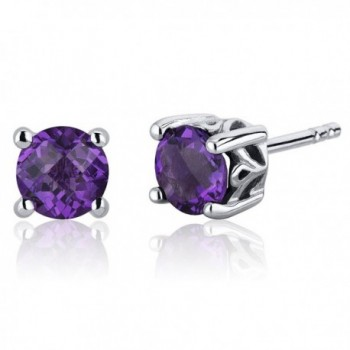 Scroll Design 1.50 Carats Amethyst Round Cut Stud Earrings Sterling Silver - CC116ULJR1X