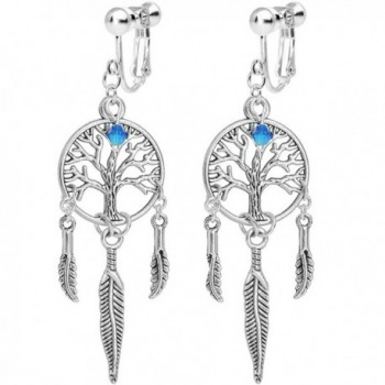 Body Candy Silver Plated Tree of Life Dreamcatcher Clip On Earrings Created with Swarovski Crystals - CD127NA48CB