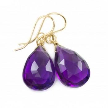 14k Gold Filled Purple Simulated Amethyst Earrings Faceted Long Teardrop Dangle - CE1103HW5PZ