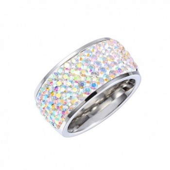 MASOP Party 11mm Wide Ring Wedding Band Iridescent Clear AB Austrian Crystal Silver Size 6 7 8 9 - CZ12EL3ZD6J