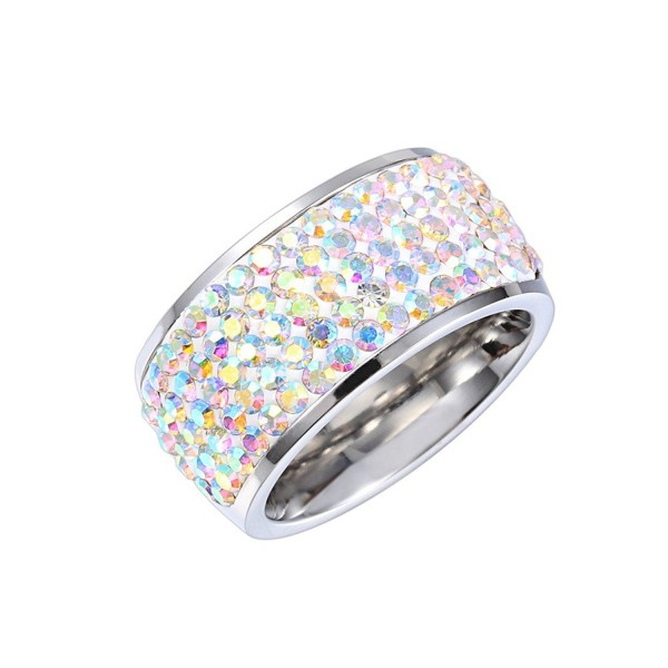 MASOP Party 11mm Wide Ring Wedding Band Iridescent Clear AB Austrian Crystal Silver Size 6 7 8 9 - CZ12EL3ZD6J
