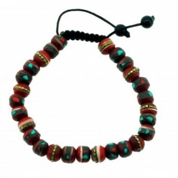Tibetan 8mm Red Yak Bone Medicine Beads Wrist Mala Buddhist Prayer Beads - CB11ERCKO7X