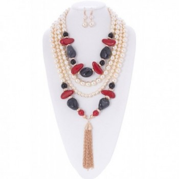 Aaliyah Simulated Pearl and Faux Gem Stone Statement Necklace and Earrings Set - Cream Black Red Tone - C212N1L5WLI