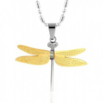 Women Dragonfly CZ Stainless Steel Pendant Necklace Aooaz Jewelry - Gold - CO1202MHK5F
