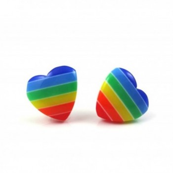 Rainbow Striped Retro Heart Earrings in Surgical Stainless Steel for Sensitive Ears - CC12NAGCPFK