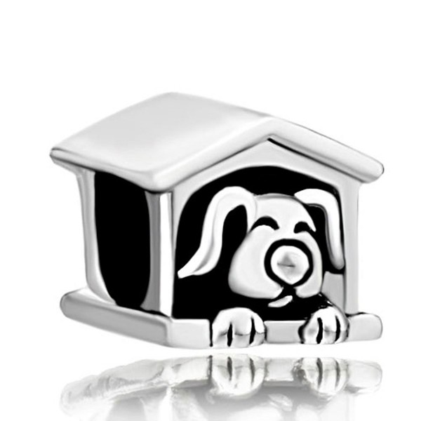 Dog Charms Cute Puppy Sleeping in Dog House Sale Cheap Jewelry Beads Fit Pandora Charm Bracelets - CY11RB3Y471