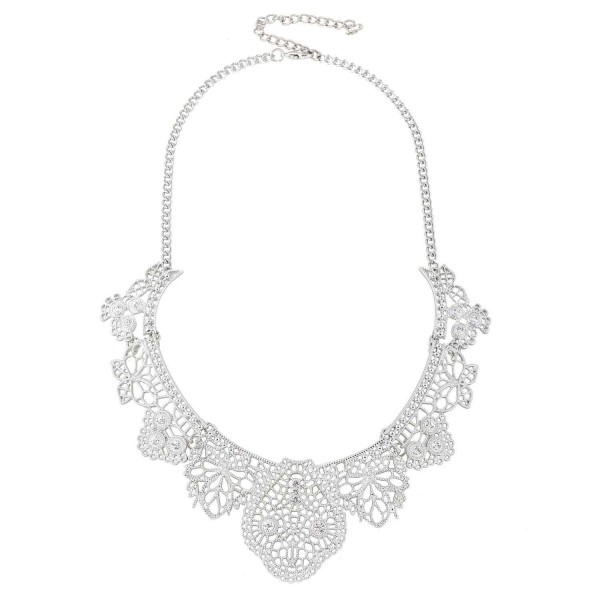 EXCEED Vintage Statement Filigree Necklace - Necklace / Silver - CO12JUCLKZJ