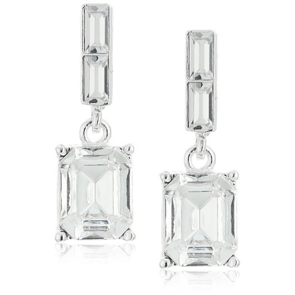 "1928 Jewelry ""Estate Swarovski Collection"" Silver-Tone Octagon Swarovski Crystals Drop Earrings - CV12F6M7B69"