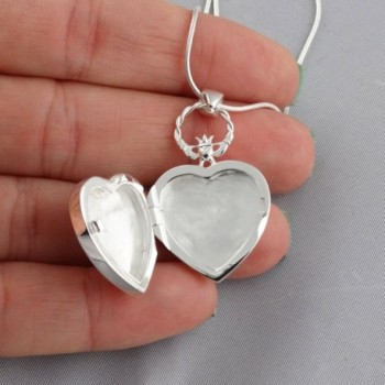 Sterling Silver Claddagh Locket Necklace in Women's Lockets