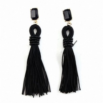 sanfnee Accessories Bead Fringe Dangle Drop Earrings Beaded Long Tassel Stud Earrings - Black - CT182LG36DL