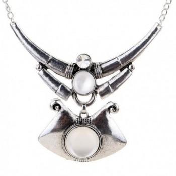 Yazilind Ethnic Design Tibeatn Silver Chain Irregular Shape Pure White Stone Chunky Bib Necklace - C811KGJT35P