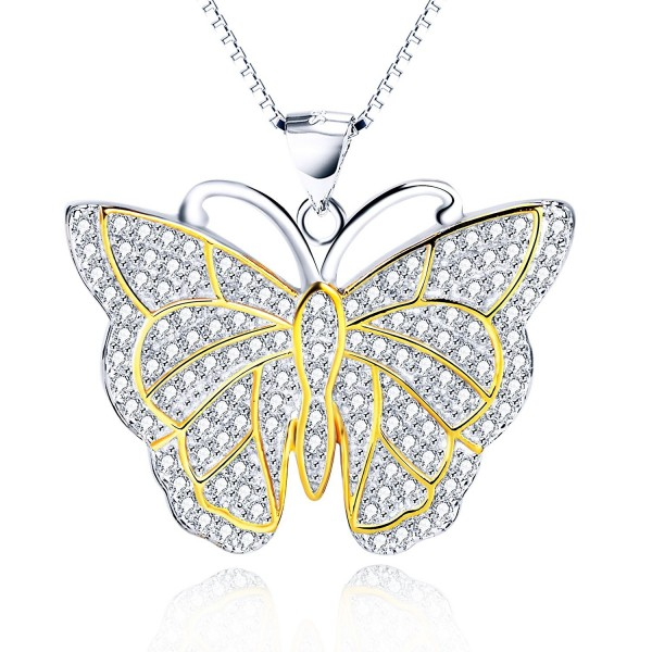 "Animal Jewelry Gift 925 Sterling Silver Two-tone Shining Butterfly Necklace for Women-Girls-18"" - CV12O66KRBB"