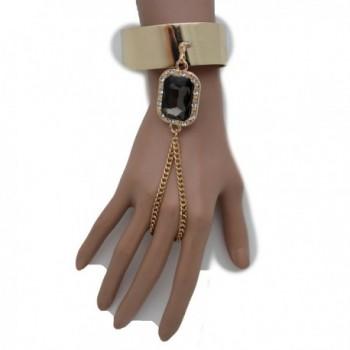 TFJ Women Fashion Jewelry Hand Chain Metal Bracelet Slave Ring Black Bead Charm Gold - CN128RK66W7