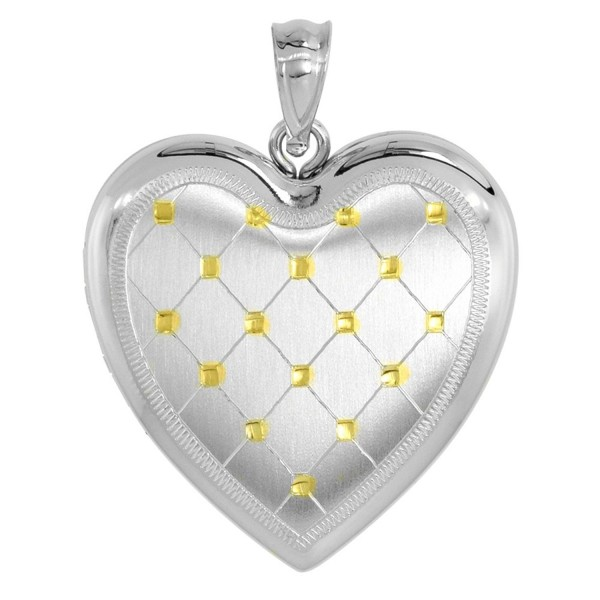 Sterling Silver Heart Locket Necklace 4 Picture Gold Quilt 1 inch - C611E1FRUGJ