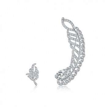 Mevecco Womens Ear Crawler Climber Leaf CZ Crystal Ear Wrap Cuffs Sweep Stud Earring Pin Jewelry - Silver - CP186OCEGGL