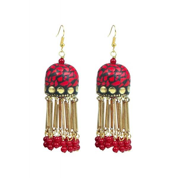 4fa620cbf Sansar India Bollywood Tibetan Tassel Jhumki Jhumka Indian Earrings Jewelry  for Girls and Women - Red