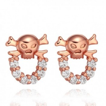 Small Cute and Funky Skull Head Lucky Charms Snow White Sparkling Crystals Stud Style Amulets Earrings - CK12ESIB8CP