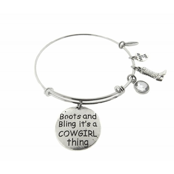 Boots and Bling It's a Cowgirl Thing Silver Tone Expandable Wire Bracelet - CK12NA49R86