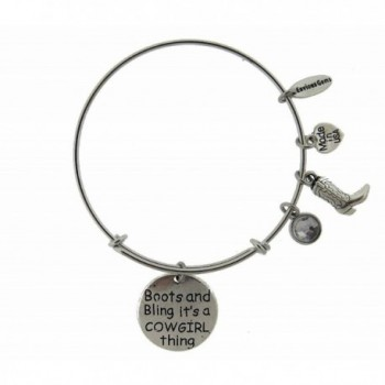 Boots Cowgirl Silver Expandable Bracelet