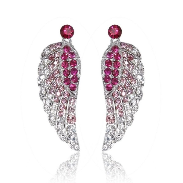 EVER FAITH Women's Austrian Crystal Gorgeous Angel Wings Pierced Dangle Earrings - Pink Silver-Tone - C611D0W13SF
