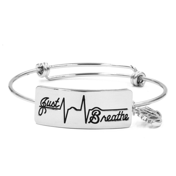 Inspirational Bracelet for Women Engraved Just Breathe Bangle Jewelry for Ladies - Silver - C6189I8U82C