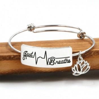 Inspirational Bracelet Engraved Breathe Jewelry in Women's Bangle Bracelets