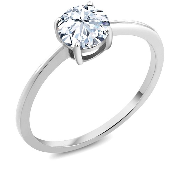 10K White Gold Engagement Promise Ring 1.20 Ct Round White Created Sapphire (Available in size 5- 6- 7- 8- 9) - C712NRUMLXY