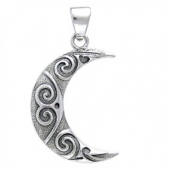 Celtic Knotwork Art - Tribal Spiral Crescent Moon Sterling Silver Pendant by Courtney Davis - C611414LF7F
