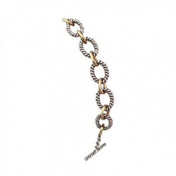 Designer Inspired 18k White and Yellow Gold Plated Cable Twisted Chain Link Bracelet - CG182S5EHZA
