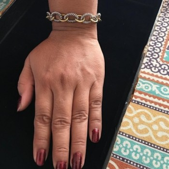 Designer Inspired Yellow Twisted Bracelet in Women's Link Bracelets