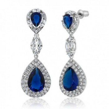 "Pear Shape Blue Simulated Sapphire and Zirconia Dangle Chandelier Earrings 2"" - CC11QJWXP07"